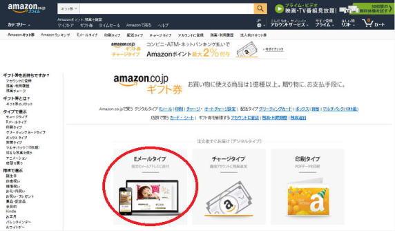 amazonギフト券のEメールタイプを選択